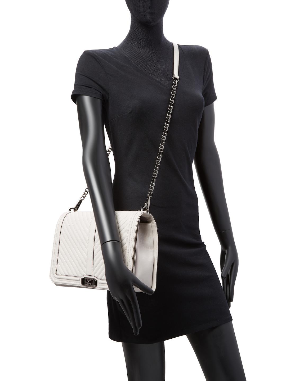 Rebecca Minkoff Leather Chevron Quilted Jumbo Love Crossbody Bag