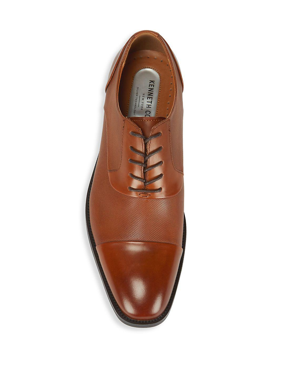 Kenneth Cole Leather Cap Toe Oxfords in Cognac (Brown) for Men