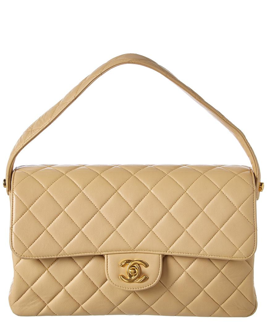 9ff7ada81044 Chanel. Women's Natural Beige Quilted Lambskin Leather Medium Double Sided Single  Flap Bag