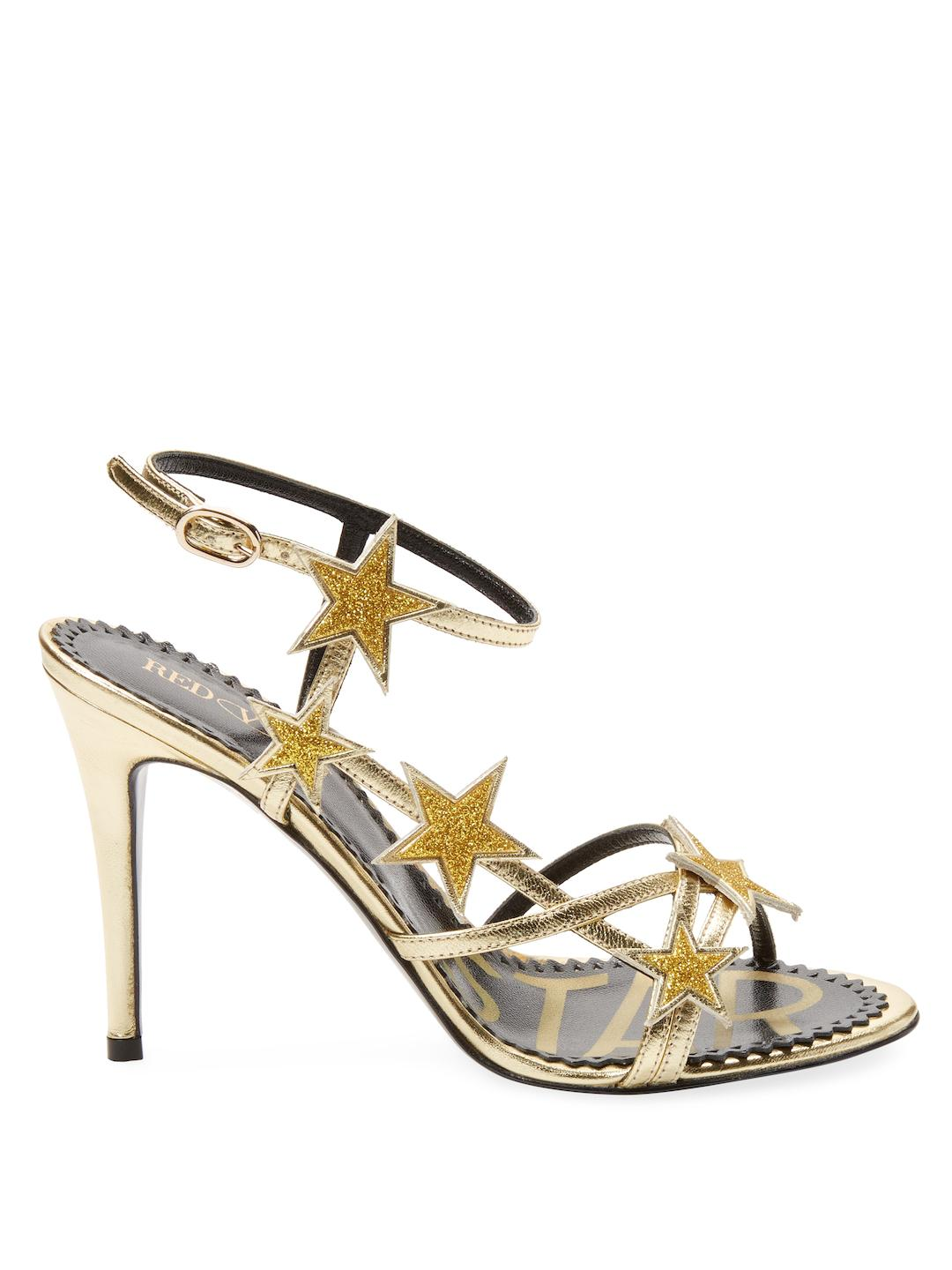7849f518c1f5ef Lyst - RED Valentino Star Embellished Metallic Leather Sandals in ...