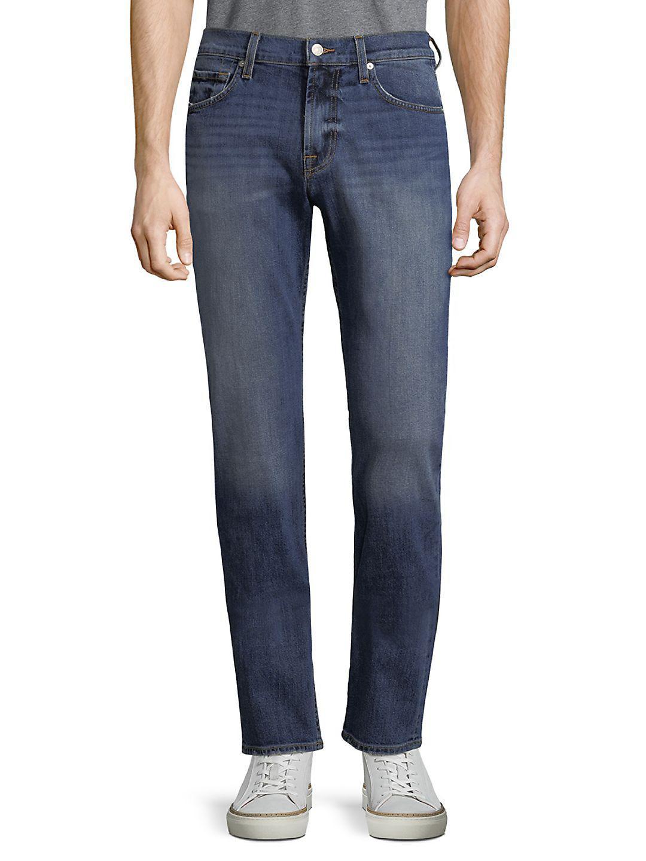 7 For All Mankind Denim Slimmy Solid Slim-fit Jeans in Blue for Men