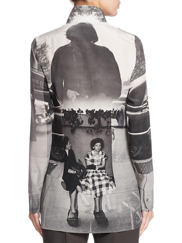 Akris Punto Printed Silk Tunic Blouse in Black