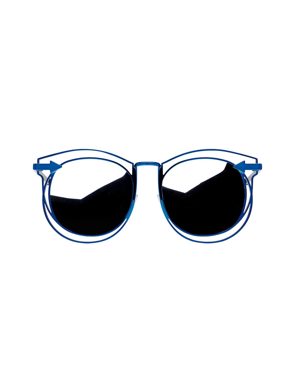 ccde761e1ab3d Lyst - Karen Walker Simone Metal Oversized Oval Frame in Blue