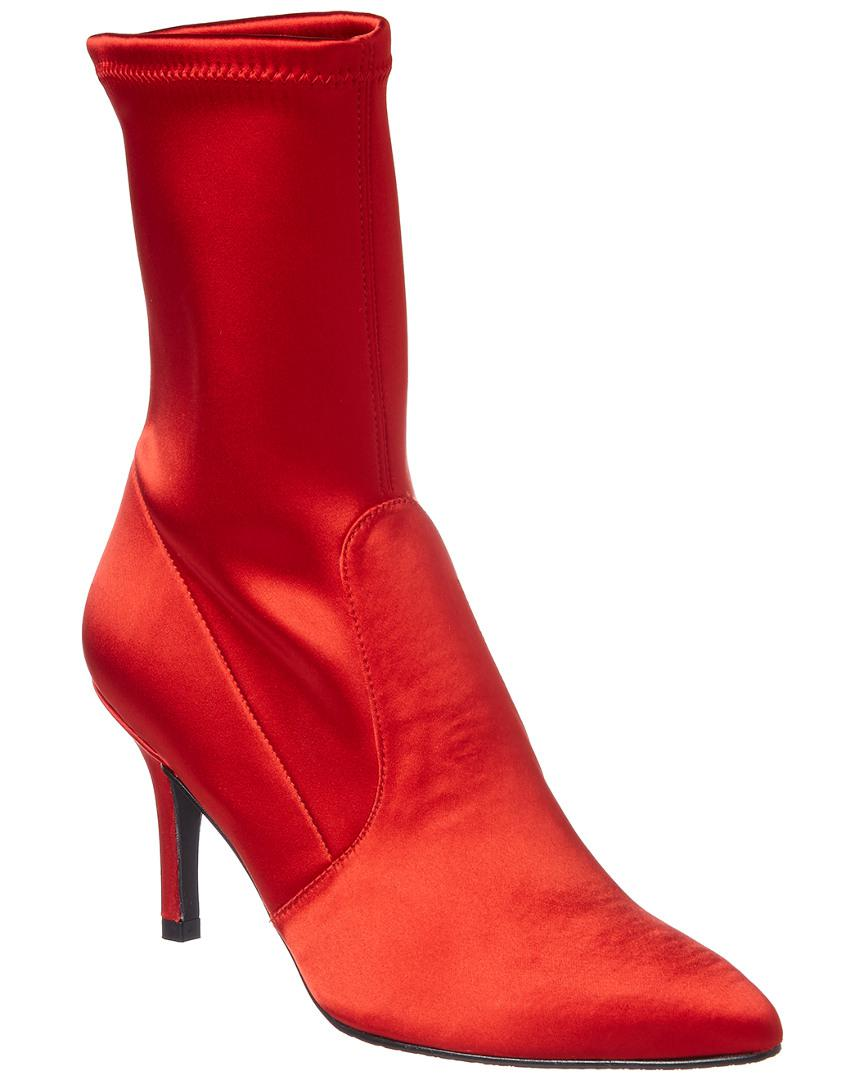 Stuart Weitzman Cling Satin Boot in Red
