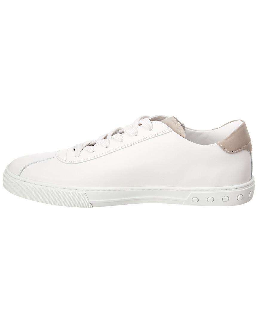 Tod's Logo Applique Leather Sneaker in White