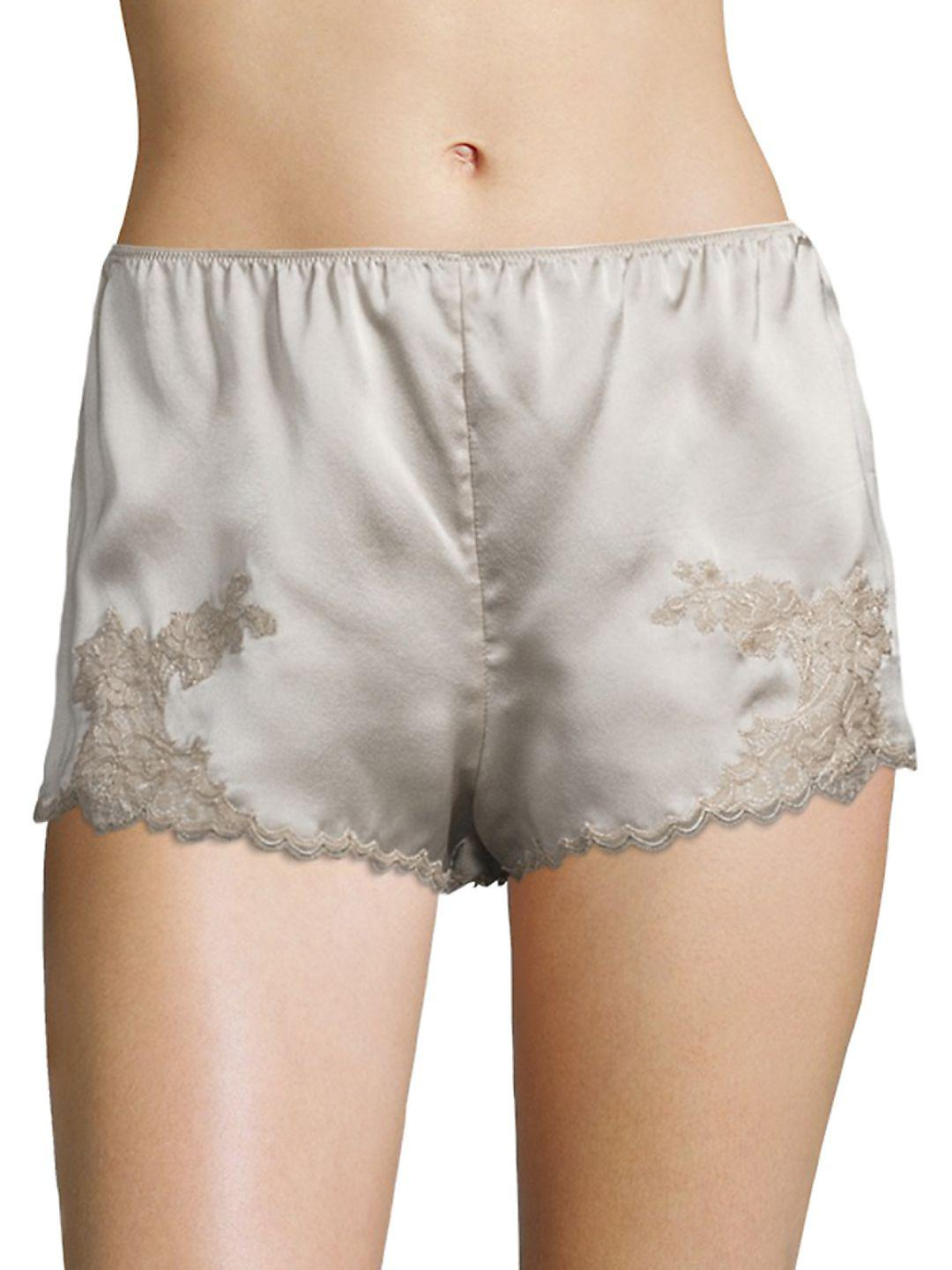 Lyst - Natori Lolita Silk Sleepwear Shorts in Gray e2d8c3d47
