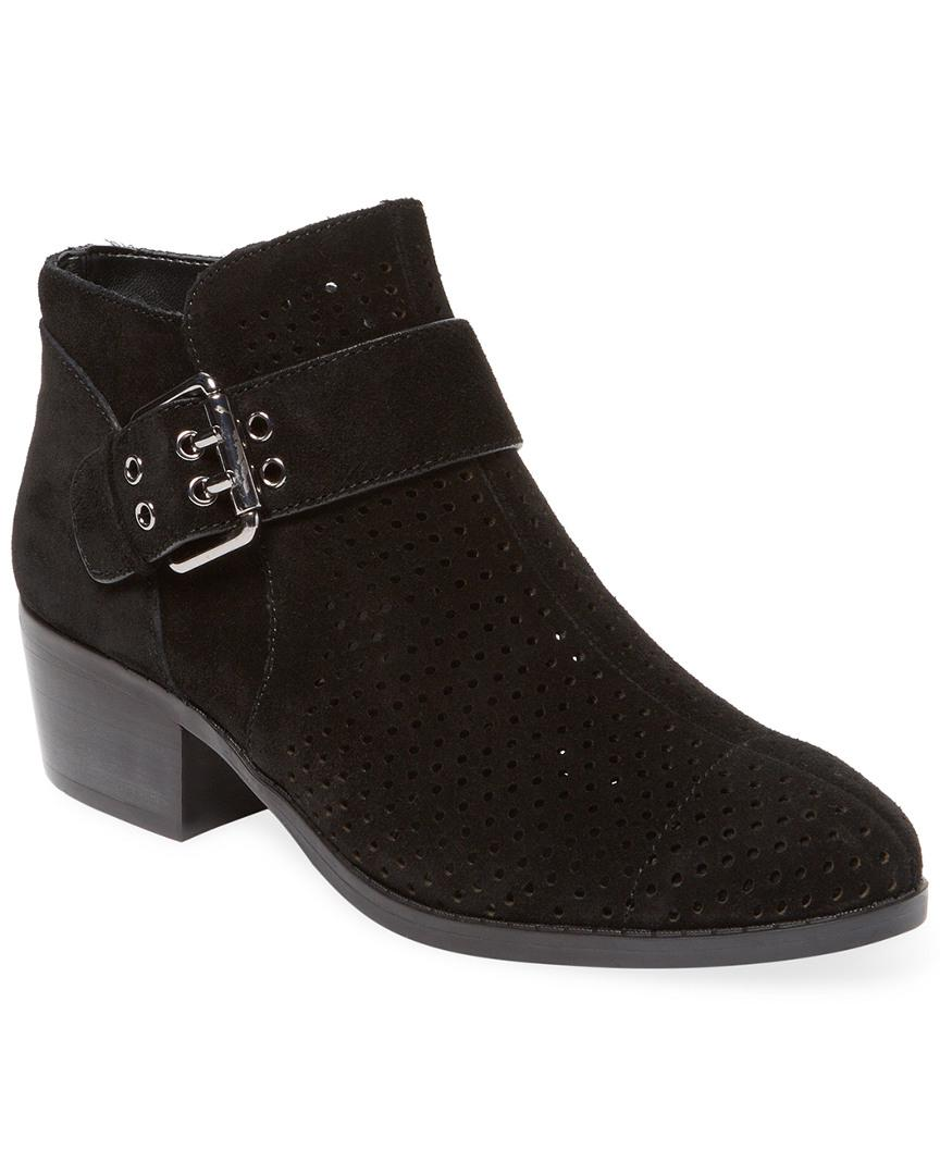 Karl Lagerfeld Leather Paris Amica Perforated Bootie in Black