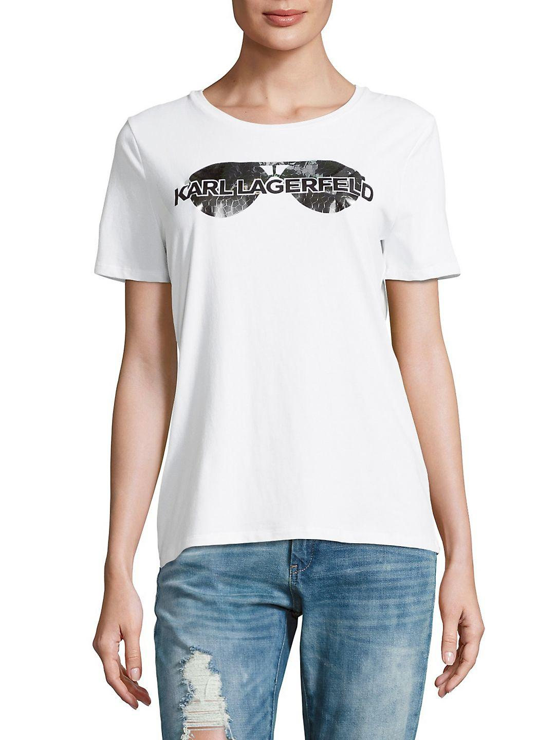 Karl Lagerfeld Cotton Crackle Sunglass Tee in Soft White (White)