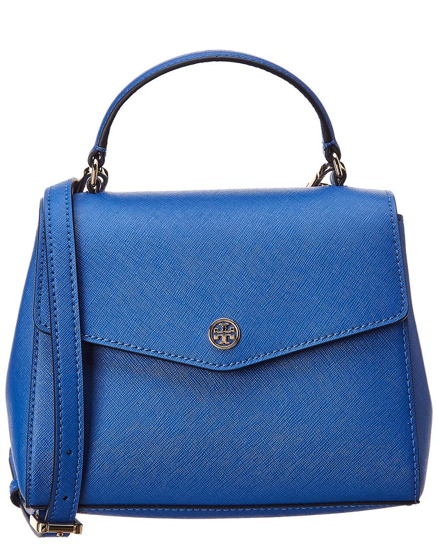 a1971f66ae040 Lyst - Tory Burch Robinson Small Top Handle Leather Satchel in Blue