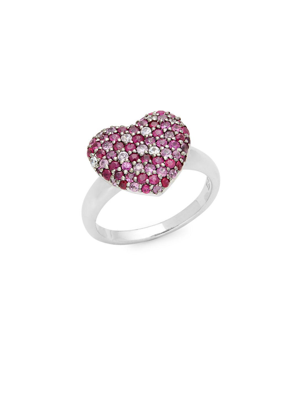 Effy Ruby & Sapphire Heart Ring in Silver (Metallic)