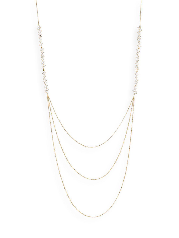 Adriana Orsini Mixed White Stone Three-row Necklace/goldtone in Metallic