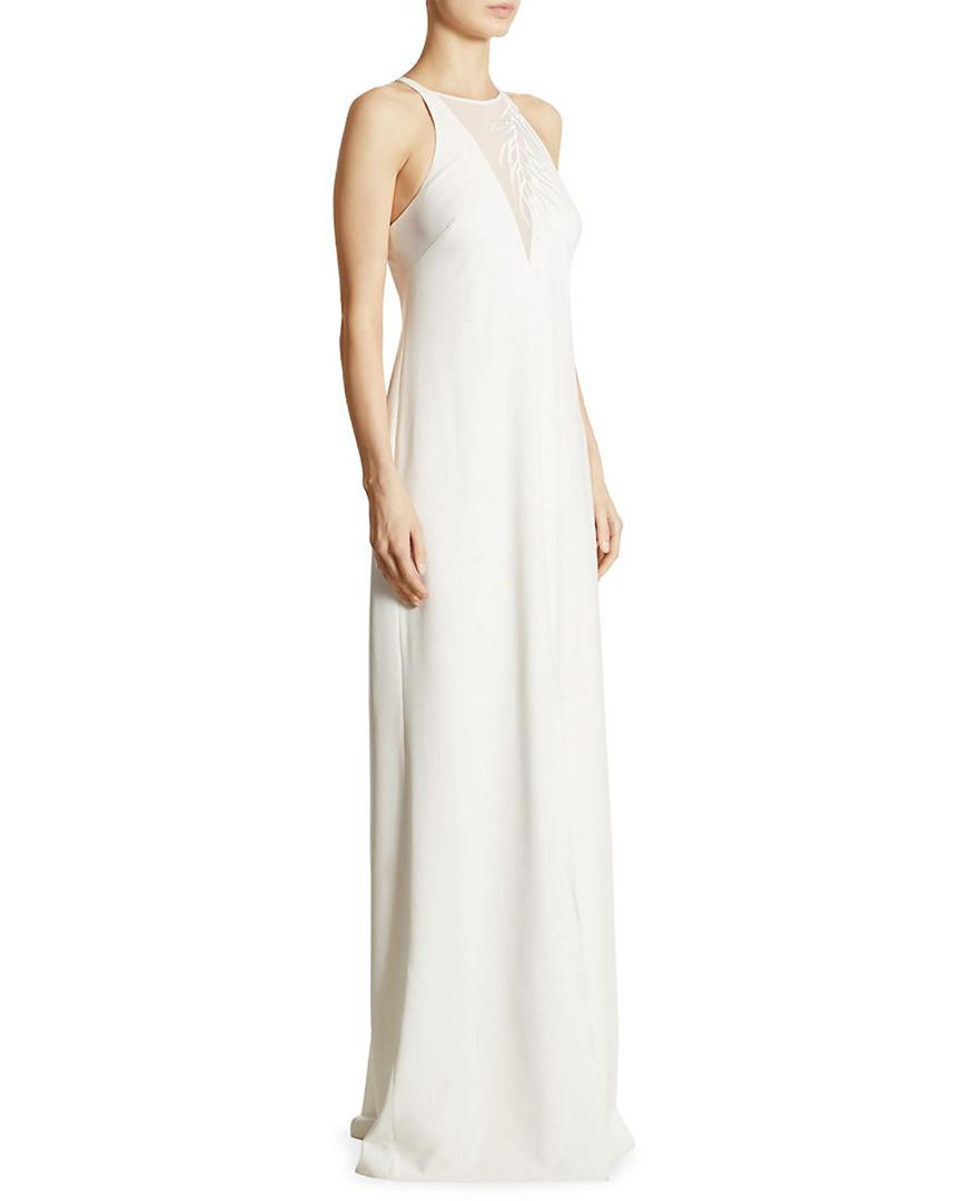 750b82326b79 Halston Lace-inset Crepe Gown in White - Save 39% - Lyst