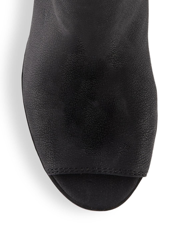 Lucky Brand Leather Barren Peep Toe Booties in Black
