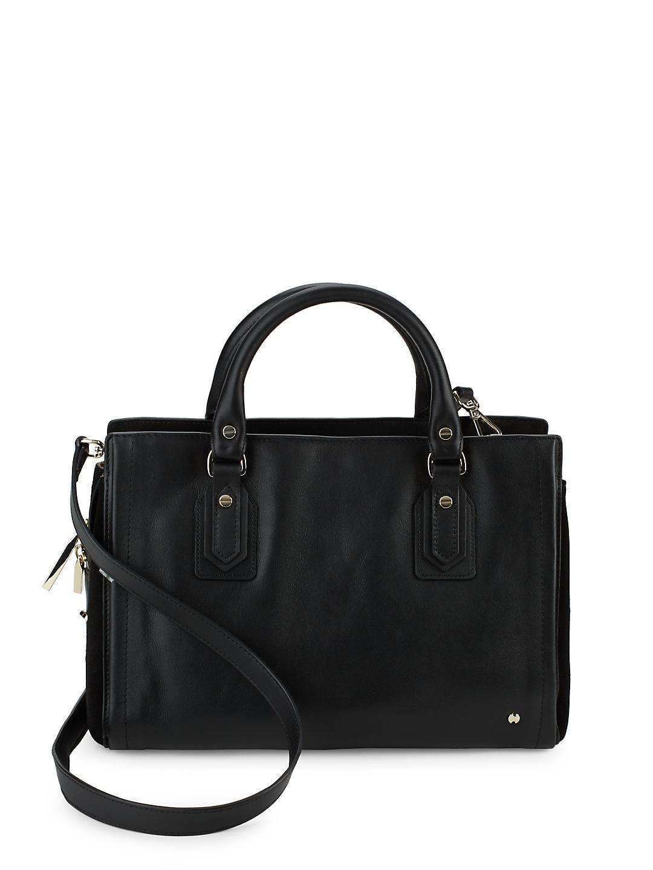 adcee8037d39 Lyst - Halston Speedy Leather Satchel in Black