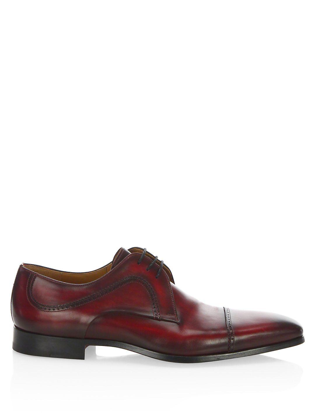Saks Fifth Avenue Saks Fifth Avenue By Magnanni Graus Leather Oxfords in Red for Men