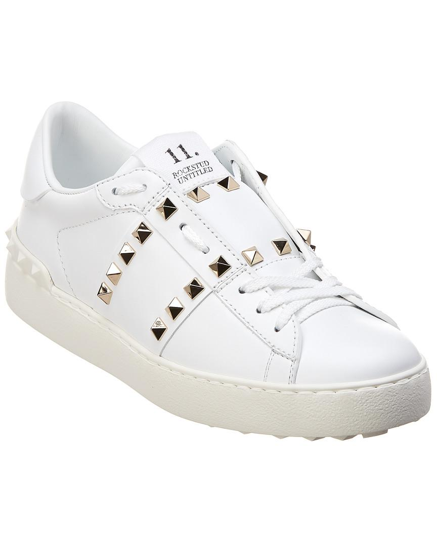 1e1b037b5dbc Valentino Rockstud Untitled Open Low-top Leather Sneaker in White - Lyst