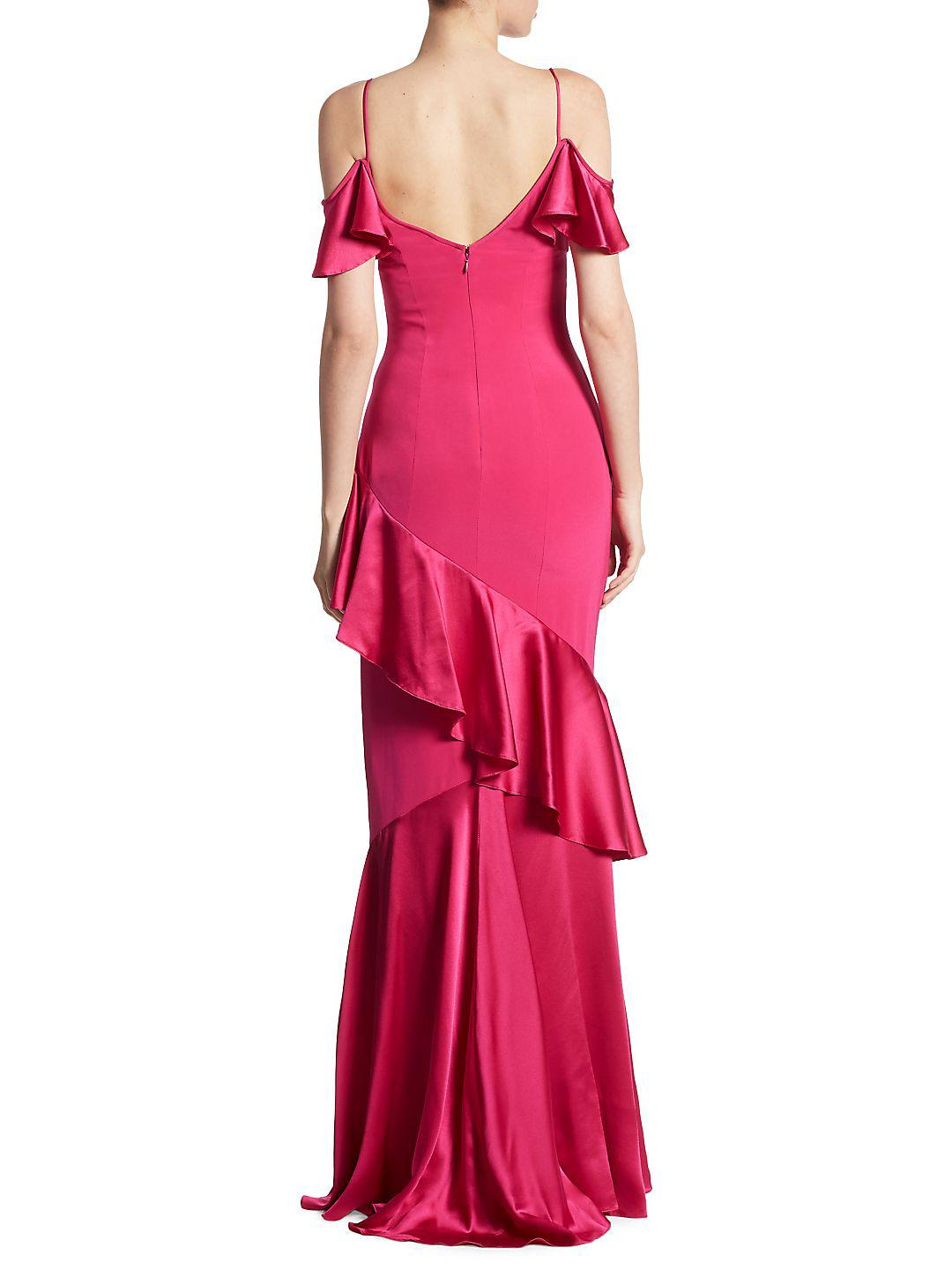 THEIA Silk Ruffle Cold Shoulder Tiered Gown in Magenta (Pink)