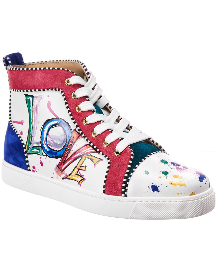 a568b29def9 Women's White Orlato Leather Love High Top Sneakers