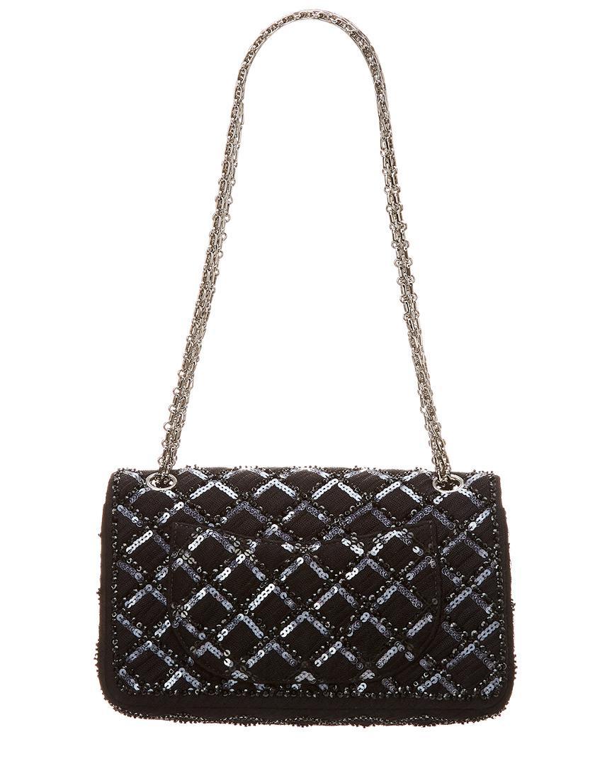 8ce6bdaf8fd8 Lyst - Chanel Limited Edition Black Sequins Medium 2.55 Reissue 226 Flap Bag  in Black - Save 1%