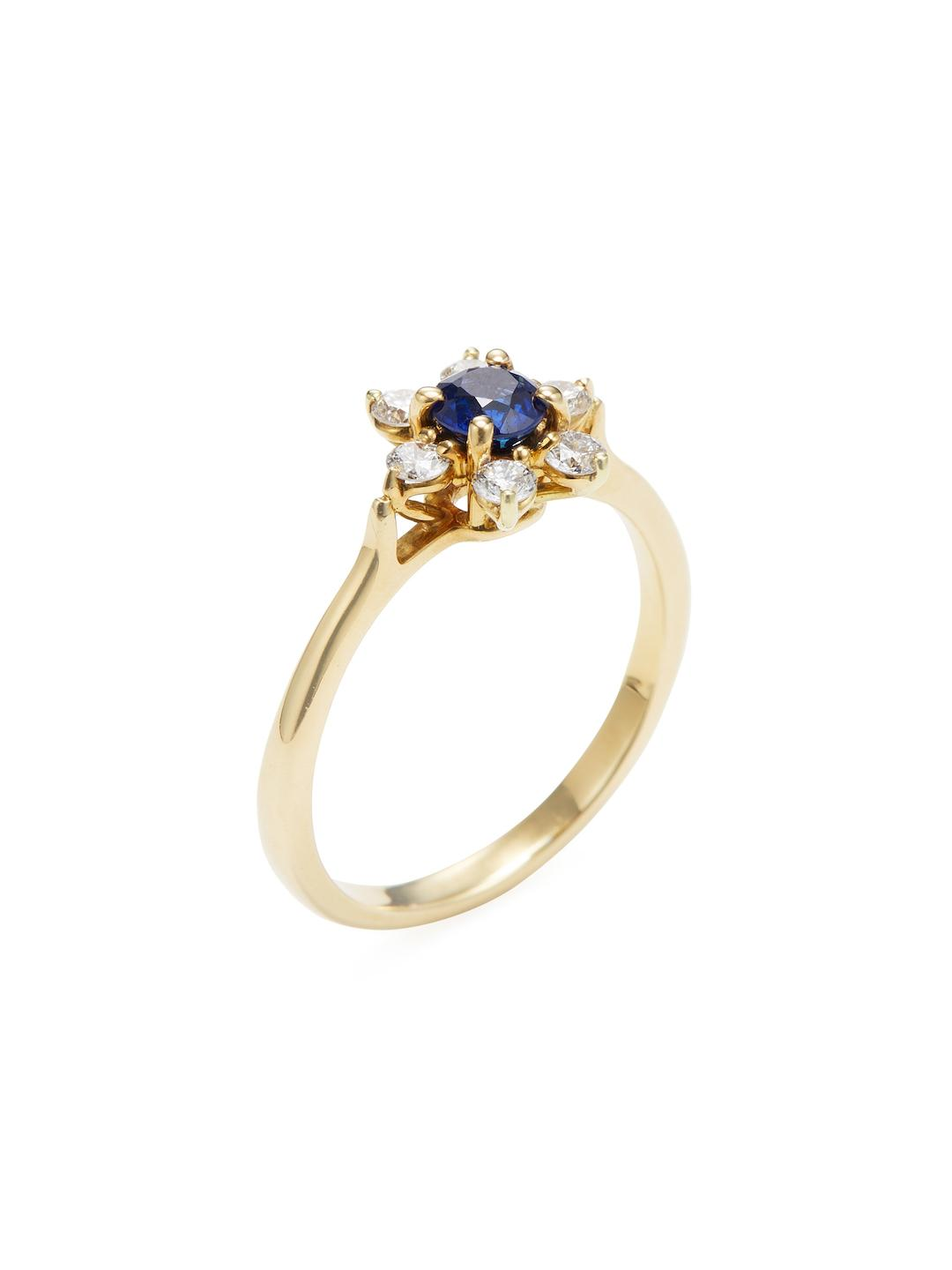 68b3436eb Tiffany & Co. Vintage 18k Yellow Gold, Blue Sapphire & Diamond Ring ...