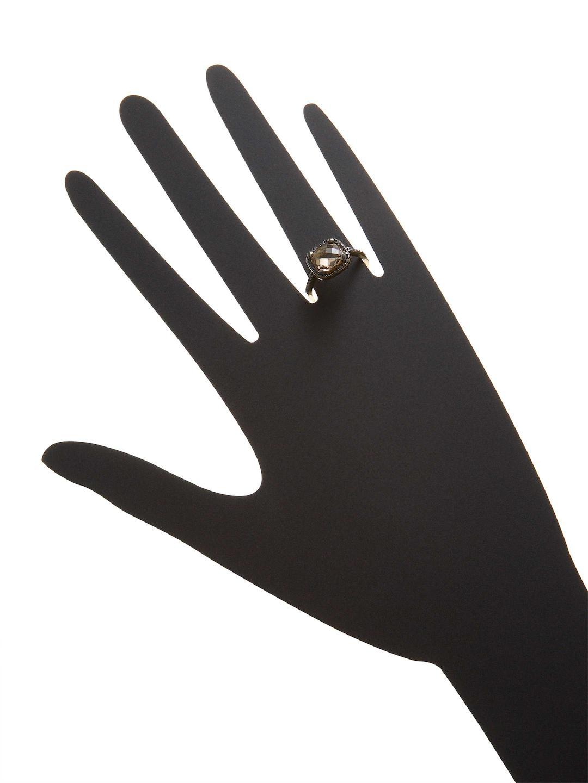 Suzanne Kalan 0.25 Tcw Black Diamond & Smokey Quartz 14k Yellow Gold Cushion Cut Ring in Metallic