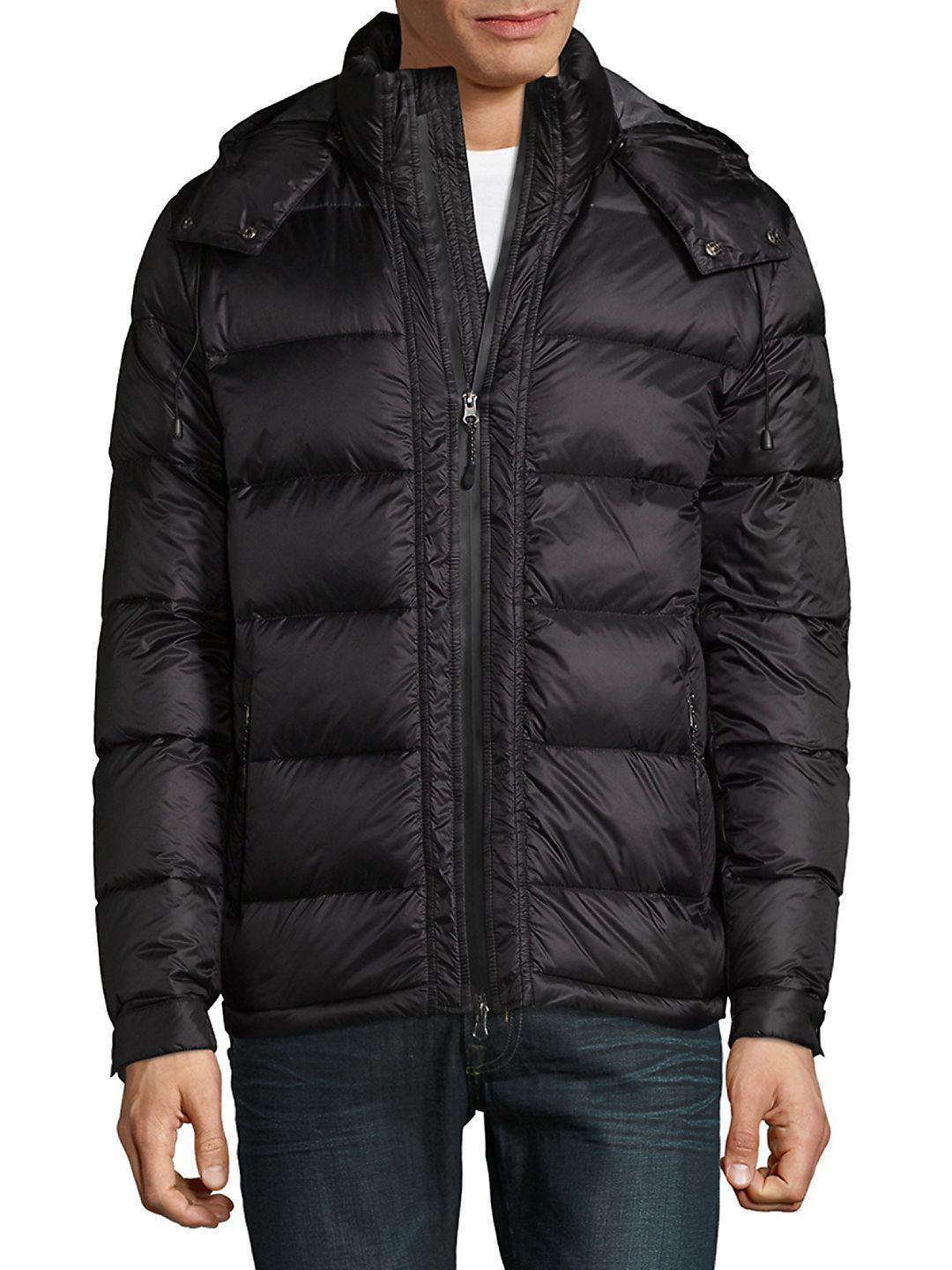 Saks Fifth Avenue Synthetic Puffer Down Jacket in Navy (Blue) for Men
