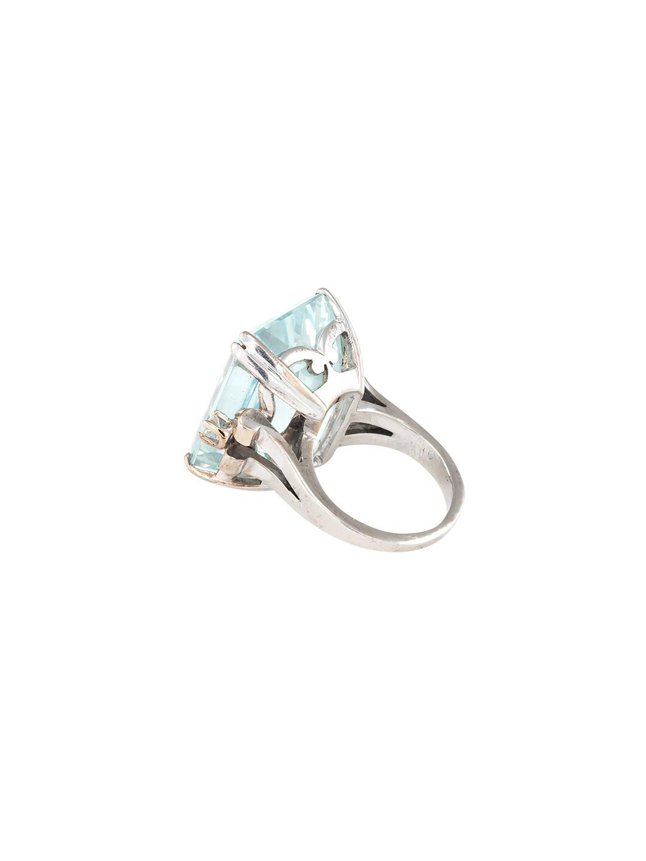 Estate Fine Jewelry 14k White Gold, Aquamarine & Diamond Cocktail Ring in Blue