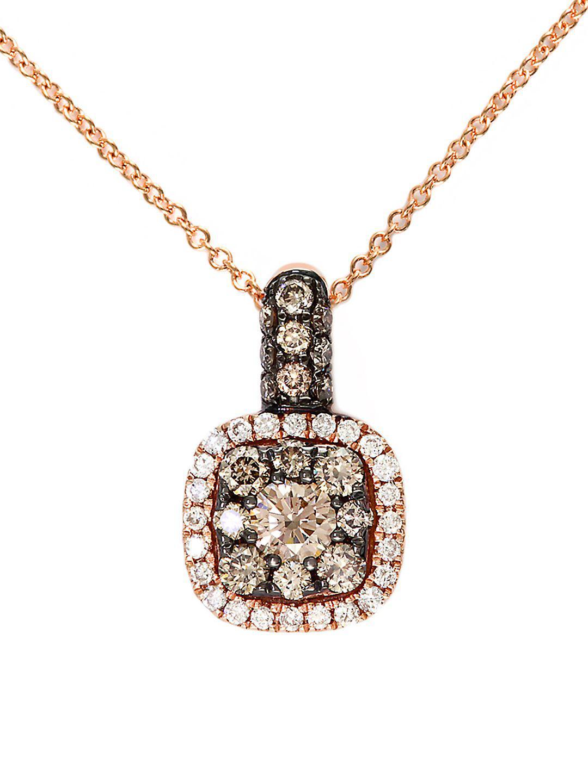 Effy Espresso 14kt. Rose Gold Brown Diamond Pendant Necklace in Pink