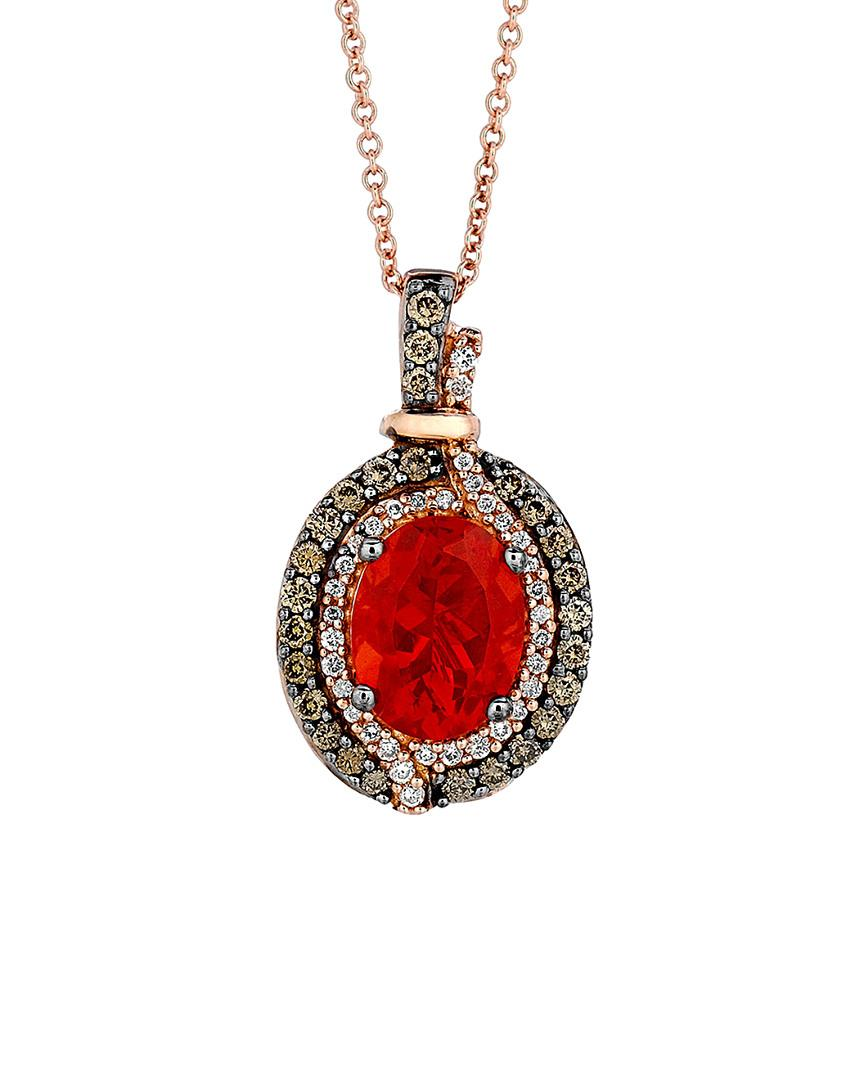Le Vian ? 14k Rose Gold 1.39 Ct. Tw. Diamond & Fire Opal Necklace in Red