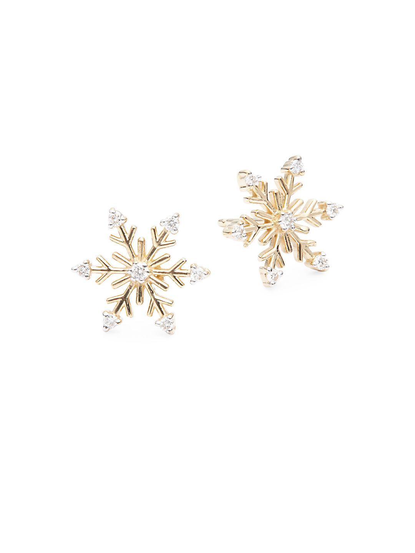 Diamond 14k Yellow Gold Snowflake Earrings