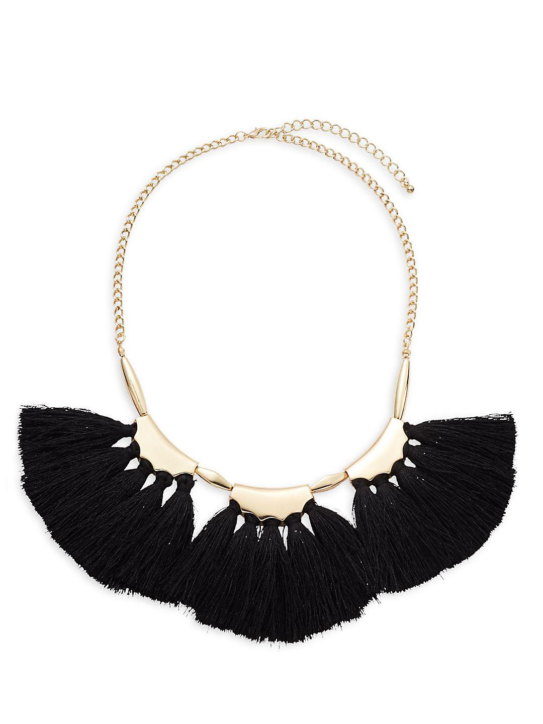 Saks Fifth Avenue Trio Tassel Fan Necklace in Gold Black (Black)