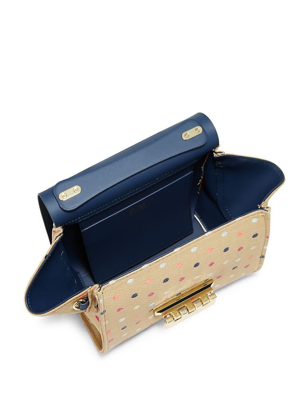 Zac Zac Posen Leather Eartha Polka Dot Crossbody Bag in Navy (Blue)