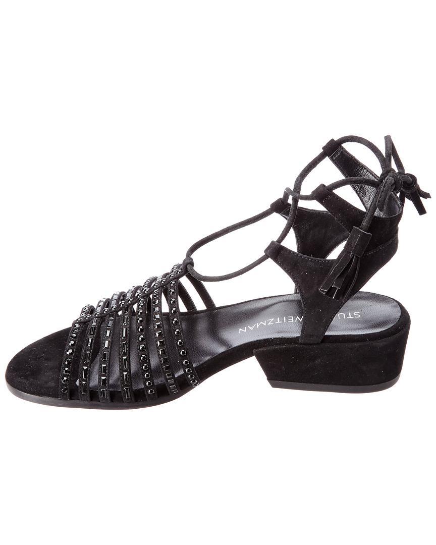 225ed7424403 Stuart Weitzman Skippity Suede Sandal in Black - Save 31% - Lyst