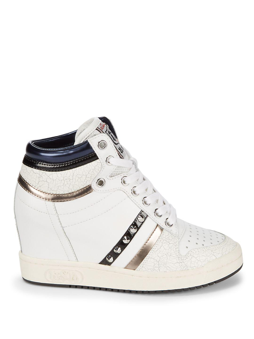 Ash Studded Leather Wedge Sneakers in White