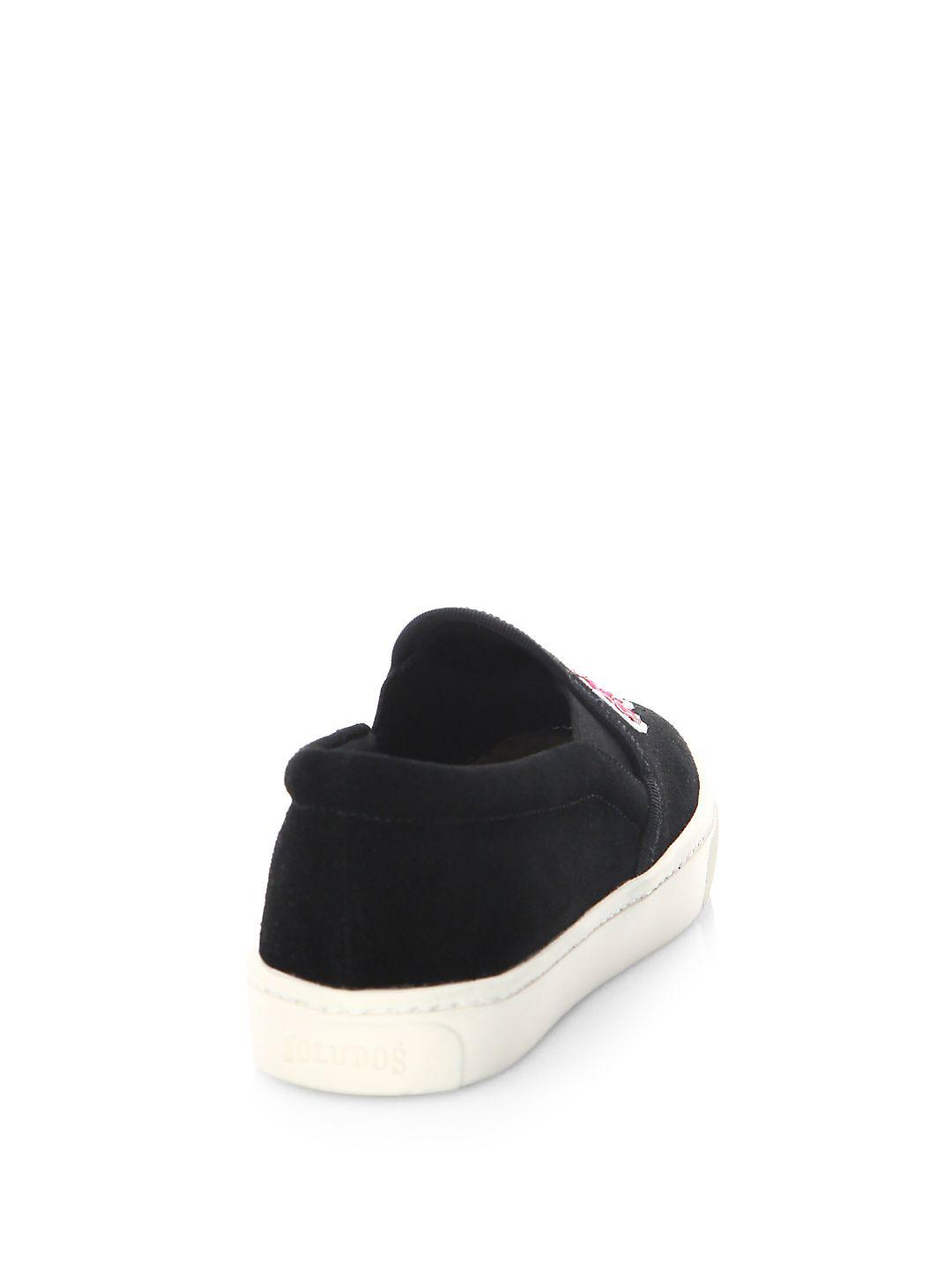 Soludos Day Of The Dead Leather Sneakers in Black
