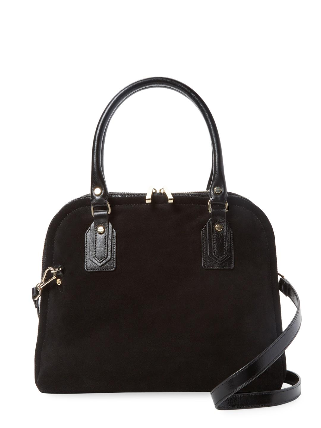 07a980e029a Lyst - Halston Dome Leather Satchel in Black