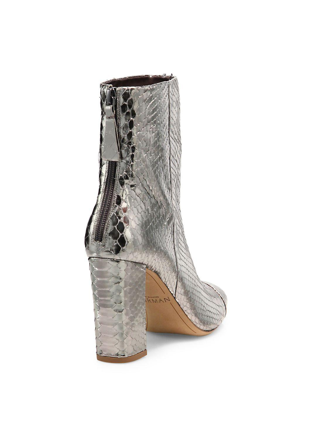 Alexandre Birman Leather Zanny Metallic Python Block-heel Booties