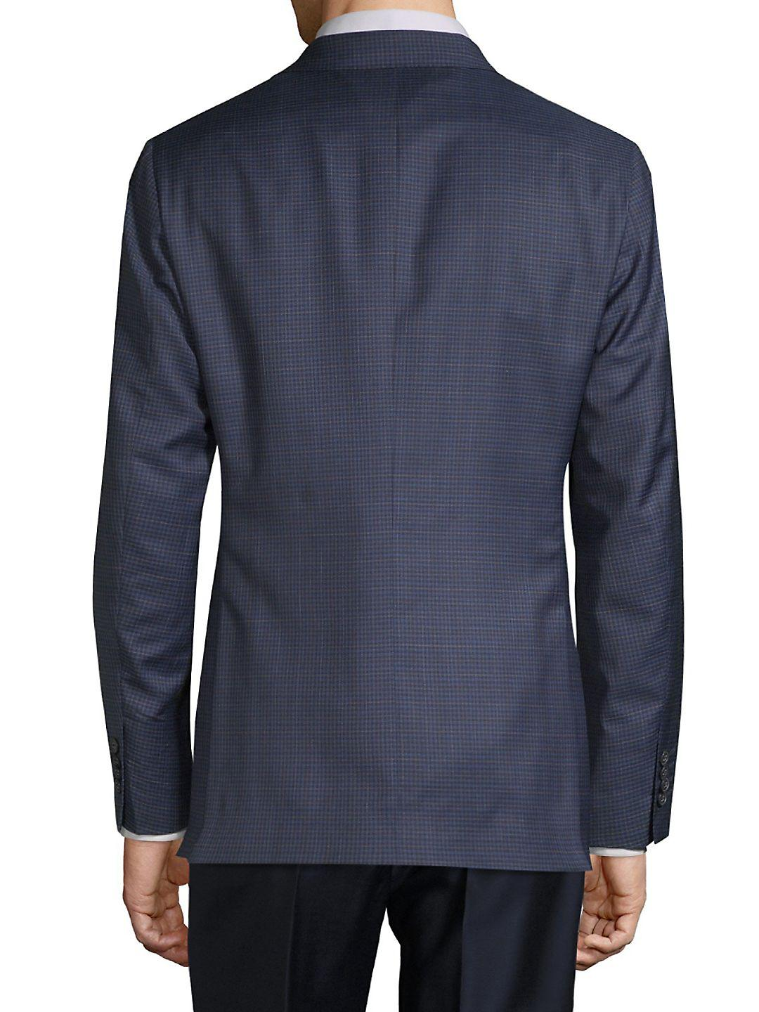 Saks Fifth Avenue Wool Silk Pincheck Sport Jacket in Blue for Men