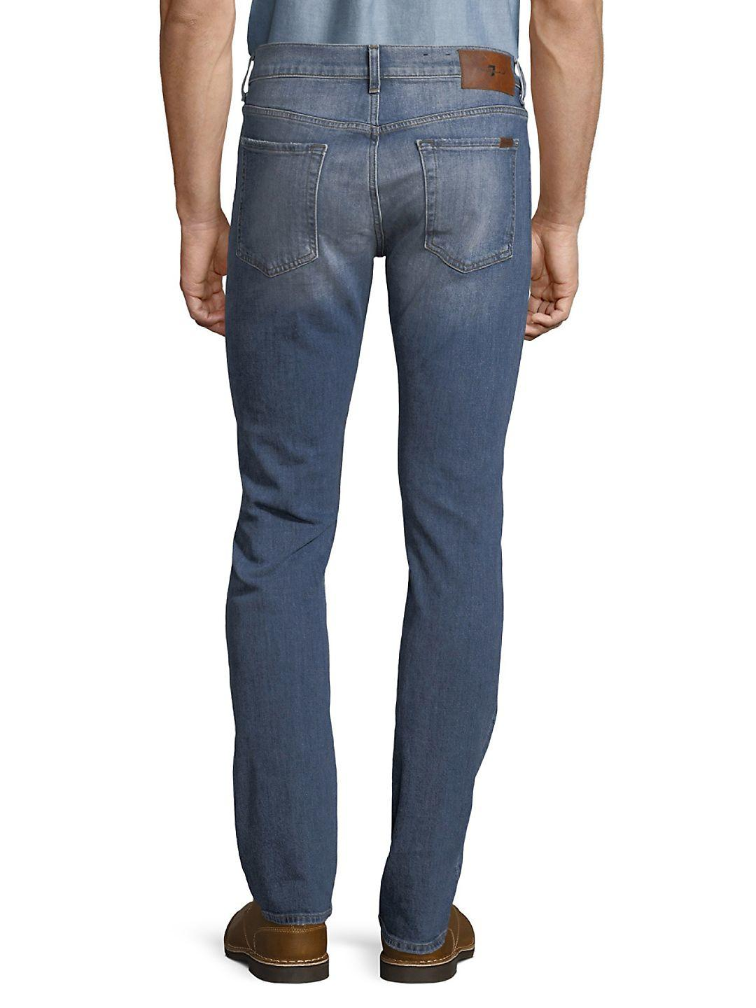 7 For All Mankind Denim Paxtyn Distressed Jeans in Indigo (Blue) for Men