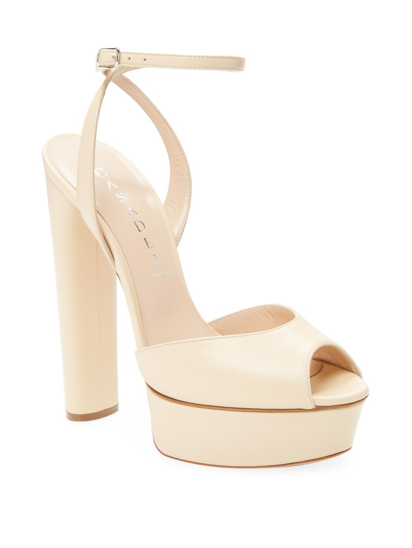 58813cda5ef Lyst - Casadei Leather Platform Sandal in Natural