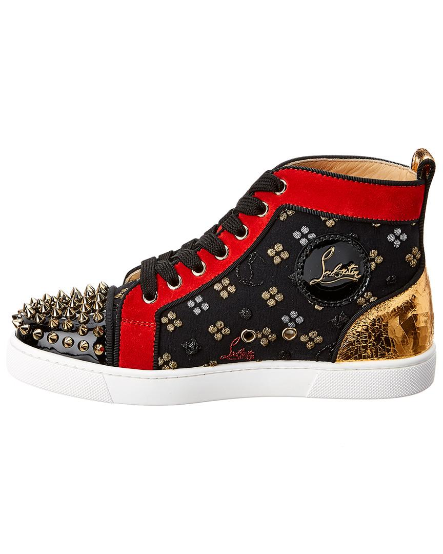 d6c438e4ce22 Lyst - Christian Louboutin Lou Spikes Leather   Suede High-top Sneaker in  Black - Save 36%