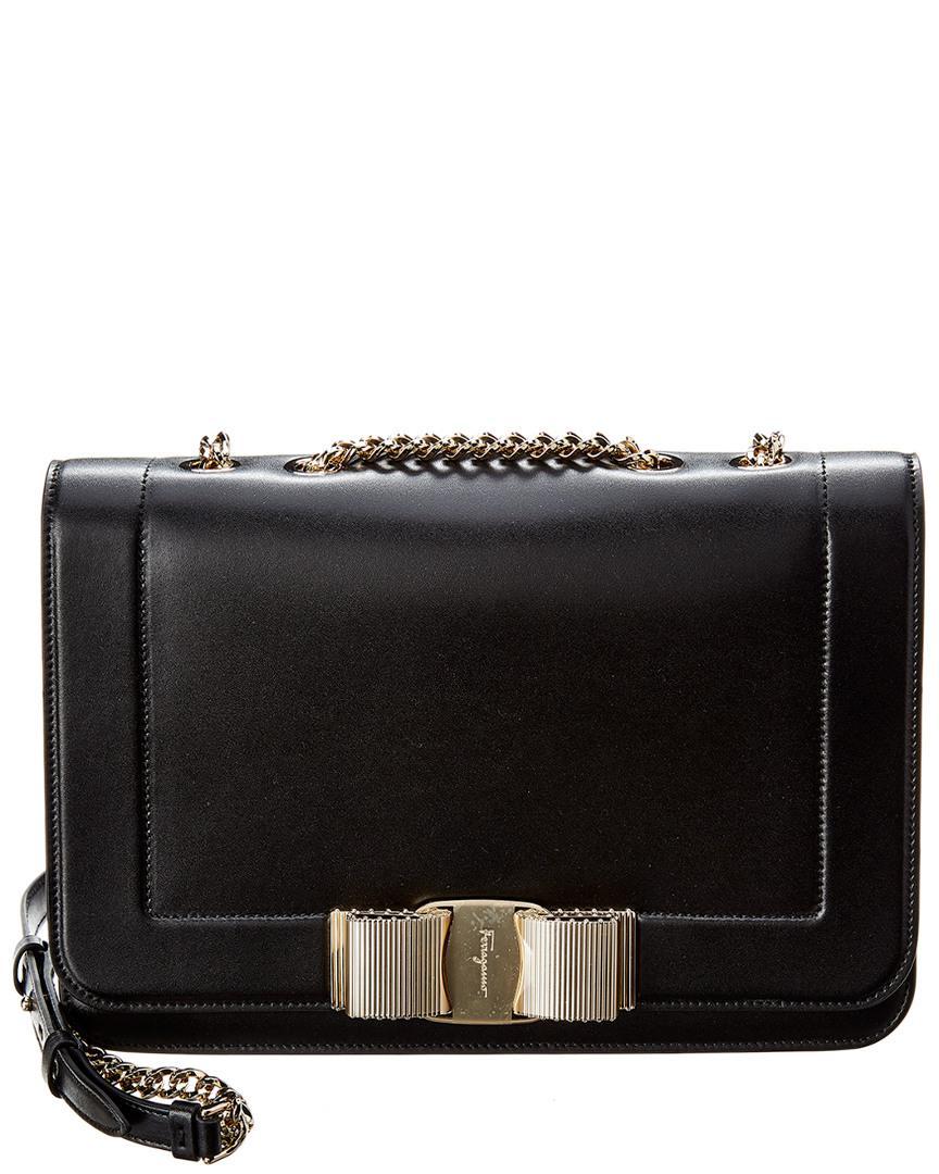 5ad20d28f9 Lyst - Ferragamo Vara Bow Medium Flap Leather Shoulder Bag in Black