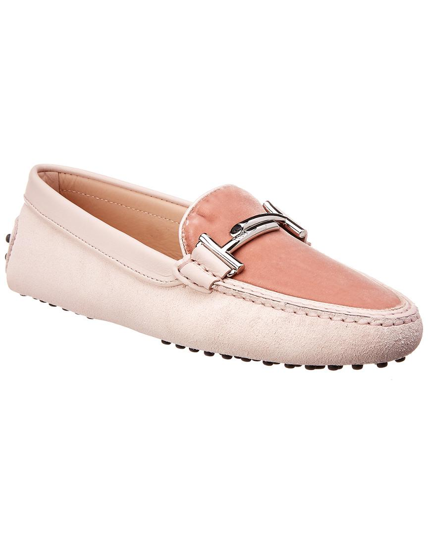 fc0bd9bc5c9 Tod S Gommino Double T Embossed Suede   Velvet Loafer in Pink - Lyst