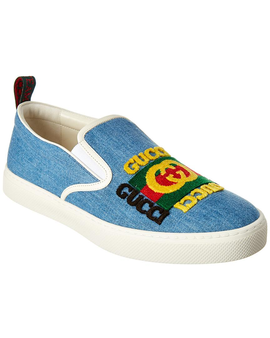 Gucci Denim Canvas Slip-on Sneaker in