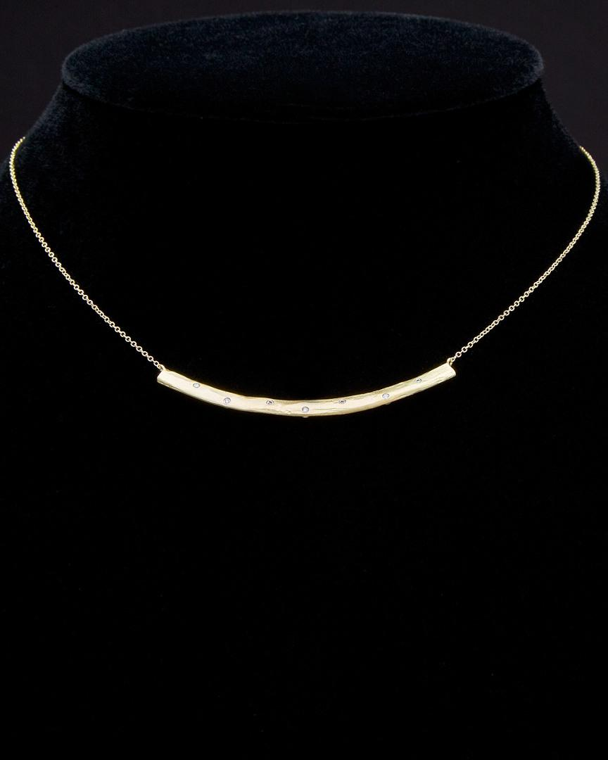 Meira T 14k Diamond Bar Necklace in Black