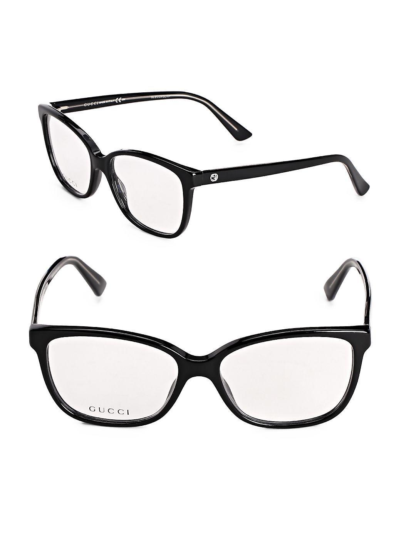 55a40e28ec7e Lyst - Gucci 76mm Oval Optical Glasses in Black for Men