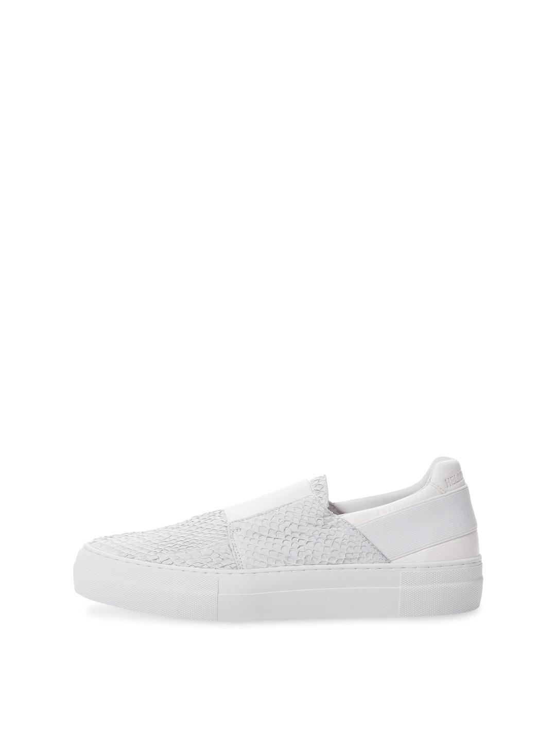 Helmut Lang Leather Washed Scale Slip-on Sneaker in White
