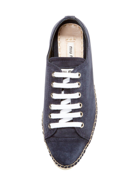 Miu Miu Suede Platform Espadrille Sneaker in Blue