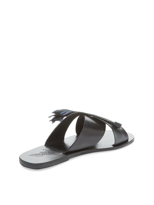 Ancient Greek Sandals Leather Thais Tulum Sandal In Black
