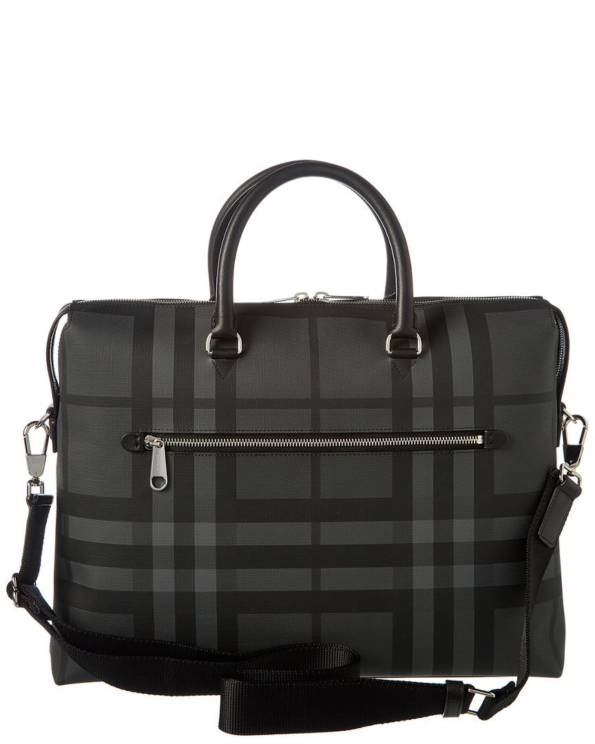7994aec002a6 Burberry Large London Check Canvas   Leather Briefcase in Gray for Men -  Lyst